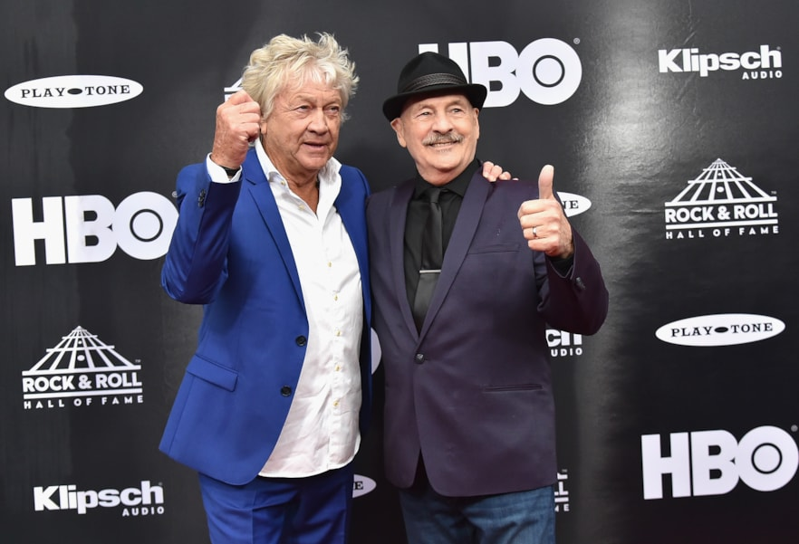 CLEVELAND, OH - APRIL 14:  John Lodge and  Mike Pinder of The Moody Blues attend the 33rd Annual Rock & Roll Hall of Fame Induction Ceremony at Public Auditorium on April 14, 2018 in Cleveland, Ohio.  (Photo by Mike Coppola/Getty Images For The Rock and Roll Hall of Fame)