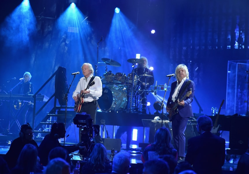 CLEVELAND, OH - APRIL 14:  The Moody Blues perform during the 33rd Annual Rock & Roll Hall of Fame Induction Ceremony at Public Auditorium on April 14, 2018 in Cleveland, Ohio.  (Photo by Theo Wargo/Getty Images For The Rock and Roll Hall of Fame)
