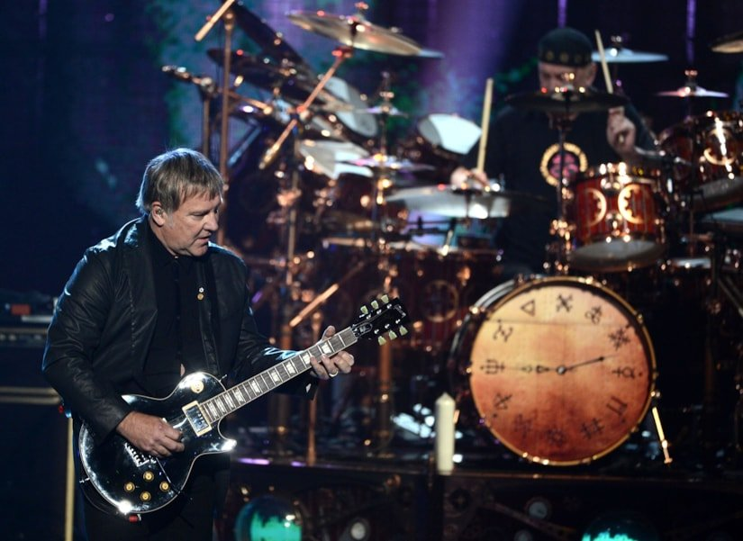 LOS ANGELES, CA - APRIL 18:  Inductee Alex Lifeson of Rush performs on stage at the 28th Annual Rock and Roll Hall of Fame Induction Ceremony at Nokia Theatre L.A. Live on April 18, 2013 in Los Angeles, California.  (Photo by Kevin Winter/Getty Images)